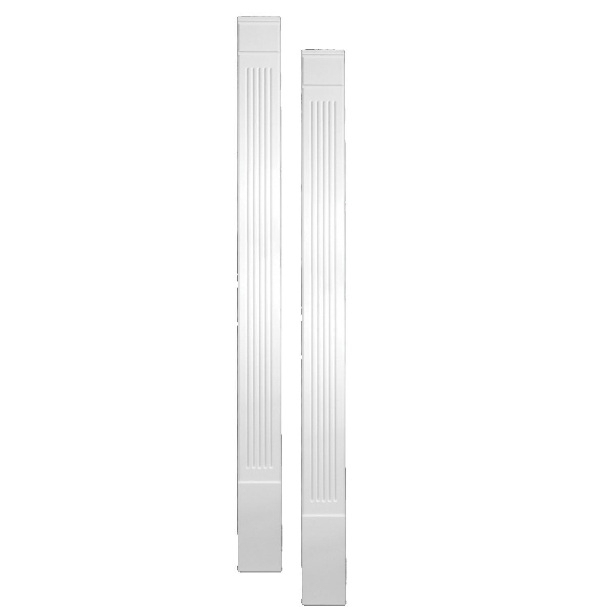 Fypon PIL3X90E 3'' W x 90'' H x 1 1/4'' P Fluted Economy Pilaster, Moulded with Plinth Block (Set of 2), 1 Piece