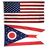 Cheap US Flag with Ohio State Flag 3 x 5 – 100% American Made – Nylon