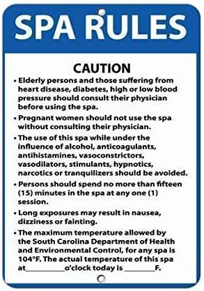 TNND Metal Warning Sign 8x12 inches Sign Spa Rules Caution Elderly Persons Suffering Heart Disease Aluminum Metal Sign