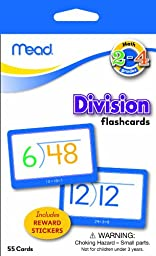 Mead Flashcards, Division, Grades 2-4, 3.62 x 5.25 Inches, 55 Cards (63148)