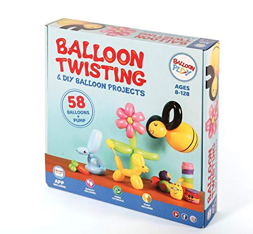 Balloon Markers - Y&A BalloonPlay Balloon Making Kit Plus Interactive Dedicated App: more than 30 fun projects and models - 58 Balloons in 4 Sizes and in Various Colors, Dual-Action Pump, Pen, & Stickers