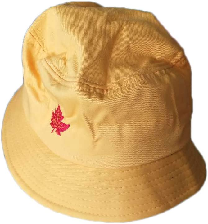 MoGist Chapeau de p/êcheur de Loisirs Broderie Pliable Chapeau de visi/ère Feuille d/érable pour Voyager et Faire du Shopping Cotton Embroidery Fond Blanc Rouge Feuille D/érable M 56-58cm
