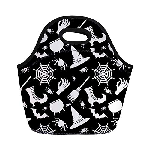 Semtomn Neoprene Lunch Tote Bag Abstract Halloween Flat Cartoon Cauldron Cobweb Color Dark Geometric Reusable Cooler Bags Insulated Thermal Picnic Handbag for Travel,School,Outdoors,Work]()