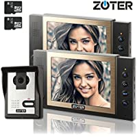 Video Door Phone,  ZOTER Wired Video Doorbell Intercom 8 Inch LCD Screen Recording Gate System with 2 Monitors