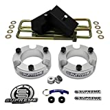 """Supreme Suspensions - Frontier Lift Kit Full Suspension Lift 3"""" Front Suspension Lift Frontier Leveling Kit + 2"""" Rear Suspension Lift CNC Machined T6 Aircraft Billet (Silver) Nissan Frontier Lift Kit PRO"""