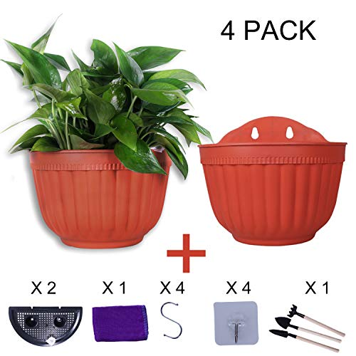 6 inch Wall Hanging Planters Pot Plant Hangers Vertical Flower Basket Container Wall Mounted Flower Pots with Drainage for Indoor Outdoor with Extra Accessories, Brick Red 4 Set