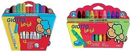 Giotto - Pack 12 rotuladores super lavables + 10 super ceras irrompibles: Amazon.es: Oficina y papelería