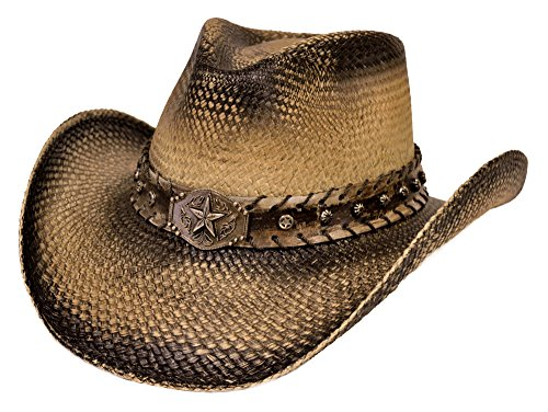 Stampede Genuine Panama Straw Cowboy Hat - 100% Toquilla Straw (Large, Lone Star Black) (Authentic Cowboy Hats)