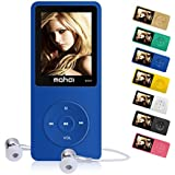 MYMAHDI 16GB MP3 Music Player 1.8 Inch Screen 70h lossless sound, Support up to 128GB Micro SD Card Blue