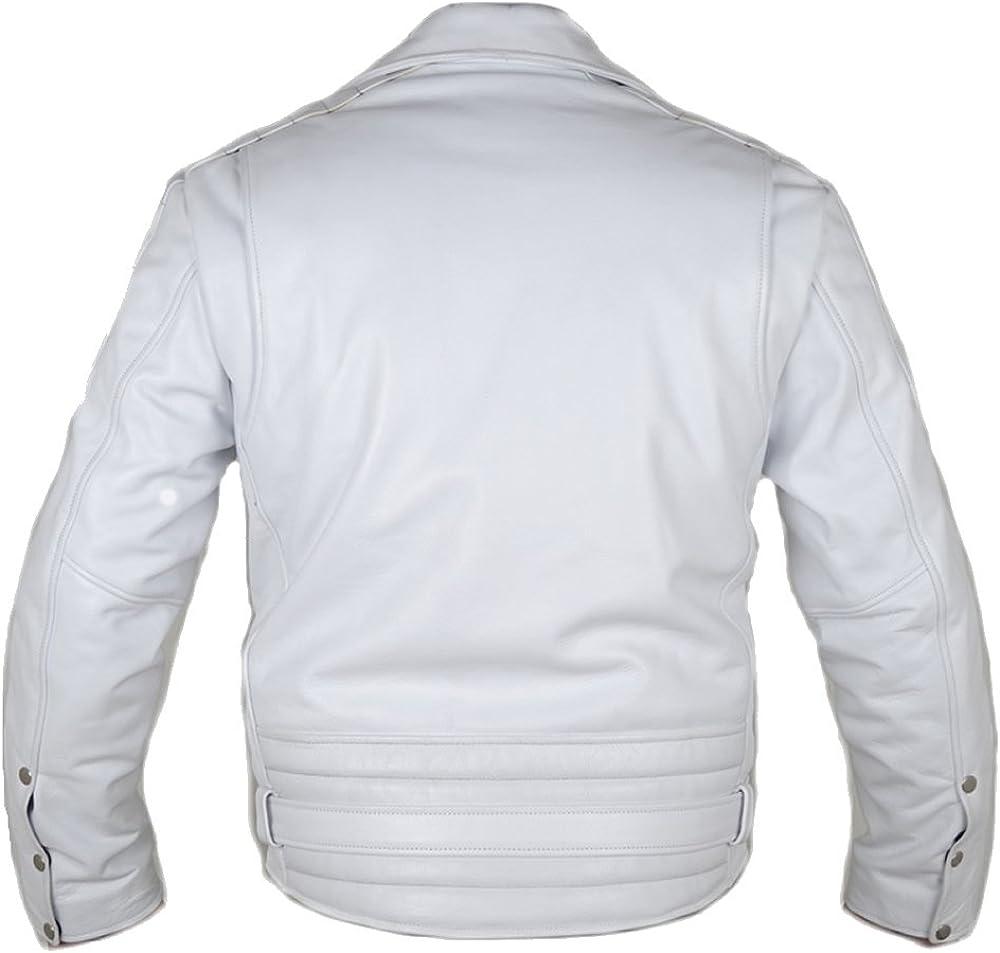 Classyak Fashion Terminator Style White Real Leather Moto Jacket Xs-5xl