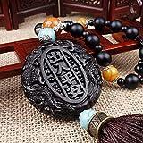 Kiartten Wooden Buddha Statue Wood Carving & Buddha Beads Chinese Buddhism Shakyamuni Statue Sculpture Amulet Car Pendant Netsuke AHJ004
