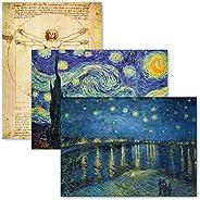 Pack de 3 – Vitruvian Man de Leonardo Da Vinci + Starry Night & Over The Rhone por Vincent Van Gogh – Póst