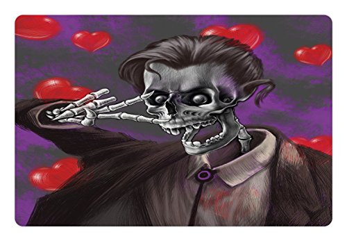 Ambesonne Skull Pet Mat for Food and Water, Romantic Skeleton Handsome Corpse Groom with Tuxedo Hearts in the Backdrop Print, Rectangle Non-Slip Rubber Mat for Dogs and Cats, Black and (Corpse Groom)