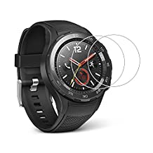 (2 Pack) Huawei Watch 2 Screen Protector,Full Coverage 9H Hardness Tempered Glass Screen Protector for Huawei Watch 2 with Anti-fingerprint Bubble-Free Crystal Clear