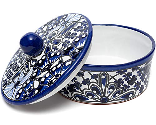 Enchanted Talavera Traditional Authentic Mexican Hand Painted Ceramic Tortilla Warmer Bowl With Lid Colorful Spanish…
