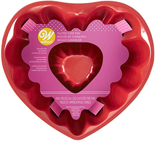Wilton 8 inch Red Heart Fluted Tube Bundt Pan