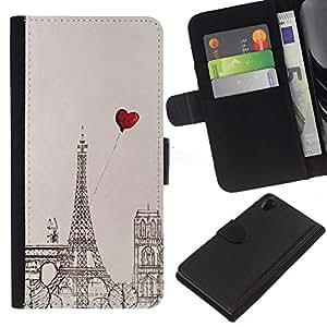 KingStore / Leather Etui en cuir / Sony Xperia Z2 D6502 / Dibujo Corazón Amor Torre Eifel