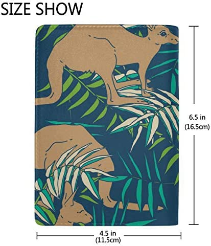 A Kangaroo Stand Up In Grasslands Blocking Print Passport Holder Cover Case Travel Luggage Passport Wallet Card Holder Made With Leather For Men Women Kids Family