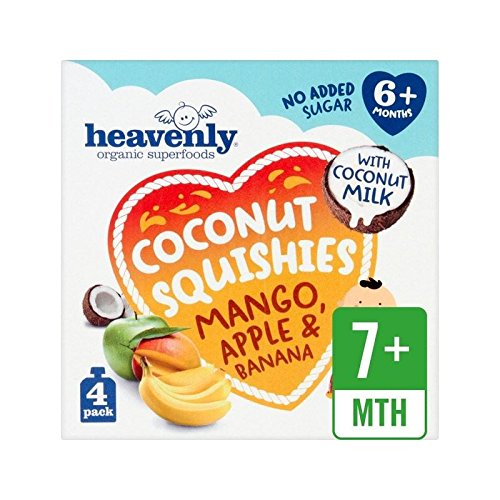 Heavenly Coconut Squishies - Mango, Apple and Banana 4 x 90g 360g - Pack of 2