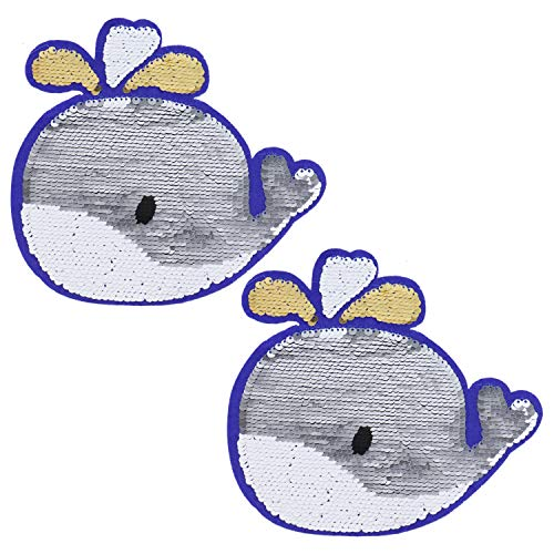 Pomeat 2Pcs Sequin Iron on Patch Large Dolphin Patch Embroidered Applique Reversible Design for Clothes Shoes Hats