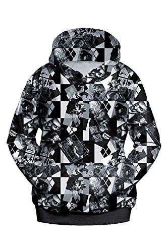 Lacostew Women's Joker Harley Quinn Printed Pullover Hooded Sweatshirt Black S -