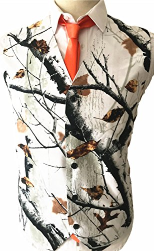 Brightmenyouth Timber Outdoors Camouflage Vest Mens Formal Suit Vest Business Suit Vest Snowfall White Camo Tuxedo Prom Vest for Men(White, XL) -