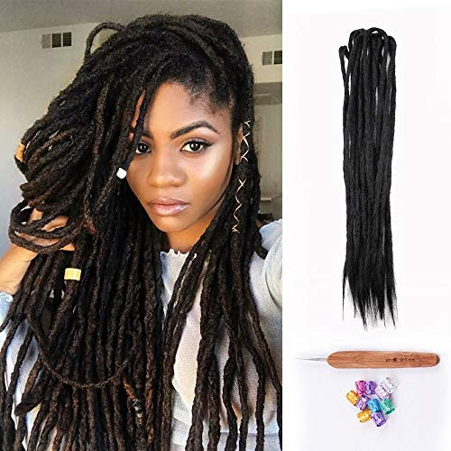 Dsoar Double Ended Dreadlocks Extensions Handmade Synthetic Dreads 20 Inch 10 Strands/Pack Crochet Braiding Hair (40 inch, 1#/Black - Strand Double Crochet