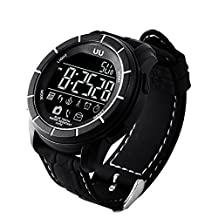 Kobwa Waterproof Smart Fitness Watch for IPhone/ Android, Bluetooth Activity Tracker Wristband with EL Backlight, Supports Swimming/ Pedometer/ Calories/ Message Notification (Black)