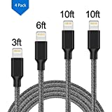 Lightning Cable,Charger Cables,4 Pack USB Data Syncing and Nylon Braided Charging Cable Cord Compatible with iPhone X/8/8 Plus/7/7 Plus/6/6 Plus/6s/6s Plus/5/5s/5c/SE and more (Silver)