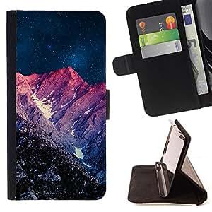 BullDog Case - FOR/LG OPTIMUS L90 / - / night purple sunset mountain sky universe /- Monedero de cuero de la PU Llevar cubierta de la caja con el ID Credit Card Slots Flip funda de cuer
