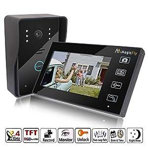 "Magicfly 2.4GHz 7"" TFT LCD Wireless Video Door Phone Doorbell Intercom System With Ir Camera Rainproof"