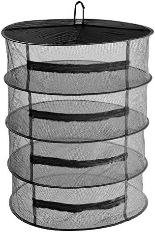 Hängenetz mit 4 Lagen zum Trocknen von Kräutern, mit Reißverschlüssen, S-Haken und Tasche zum Aufbewahren, schwarz
