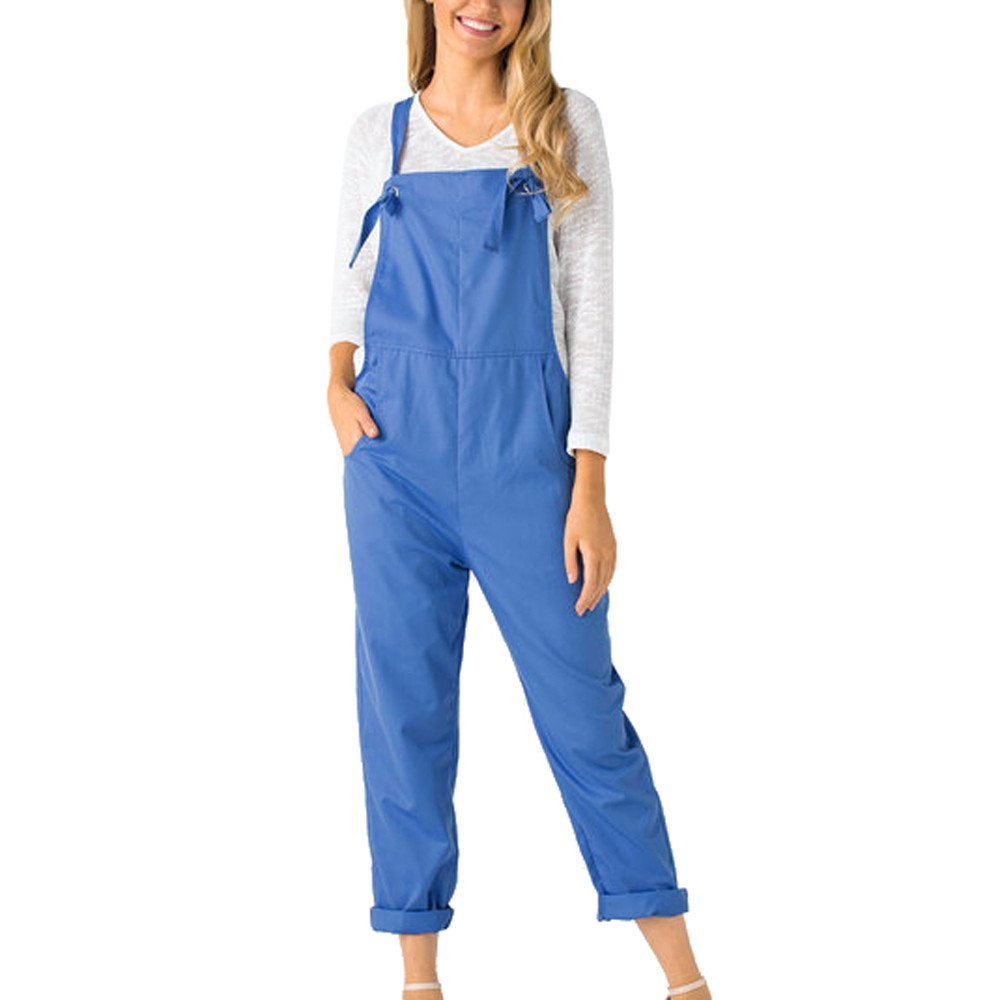 GWshop Ladies Fashion Elegant Jumpsuit Summer Jumpsuits for Women Loose Dungarees Loose Long Pockets Rompers Pants Trousers Blue S