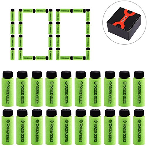 (FenglinTech Worker 100pcs 36mm Short Darts for Nerf Elite Retaliator Worker Mod Customized Short Darts Magazine Quick Reload Clip with Upgrade Tube Kits - (Green))
