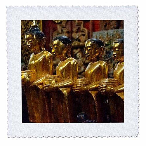 3dRose Danita Delimont - Religion - Golden Buddhist statues, Mandalay, Myanmar - 12x12 inch quilt square (qs_276706_4) ()