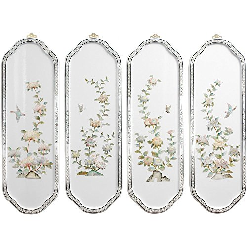 Oriental Furniture Birds and Flowers Curved Wall Plaques (Asian Wall Plaques)