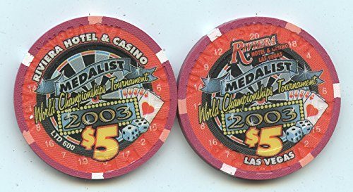 $5 Riviera Medalist Dart Darts World Championship Tournament 2003 Old Obsolete Las Vegas Nevada Casino Chip Uncirculated Collectors Condition Chip Real Live chip ()