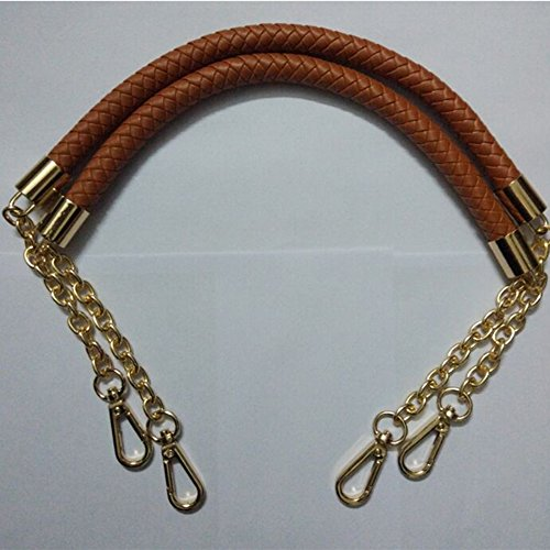 60cm Chain + PU Leather Weave belt handles for replacement Women bag handles For DIY (Brown)