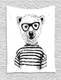 Apartment Dressed Up Hipster Nerd Smart Male Bear in Glasses Fun Character Animal Artful Print Black White Supersoft Throw Fleece Blanket 39.37x49.21 Inches