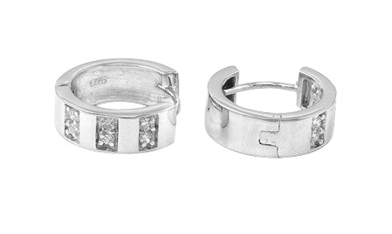 Sterling Silver 15mm Diameter Offset Rectangular Cubic Zirconia Huggie Hoop Earrings