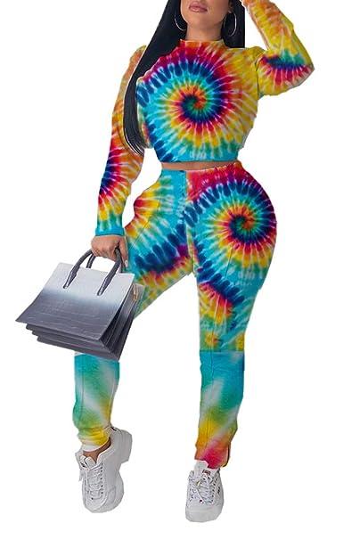 Amazon.com: Colorido Tie Dye Letra Estampado Hippie Crop Top ...