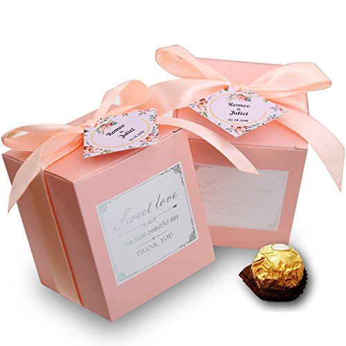 Doris Home 50 pcs Birthday Wedding Party Favor, Wedding Gift Boxes Personalized Names Candy Gift Boxes Bridal Shower Party Paper Gift Box (Pink Name)