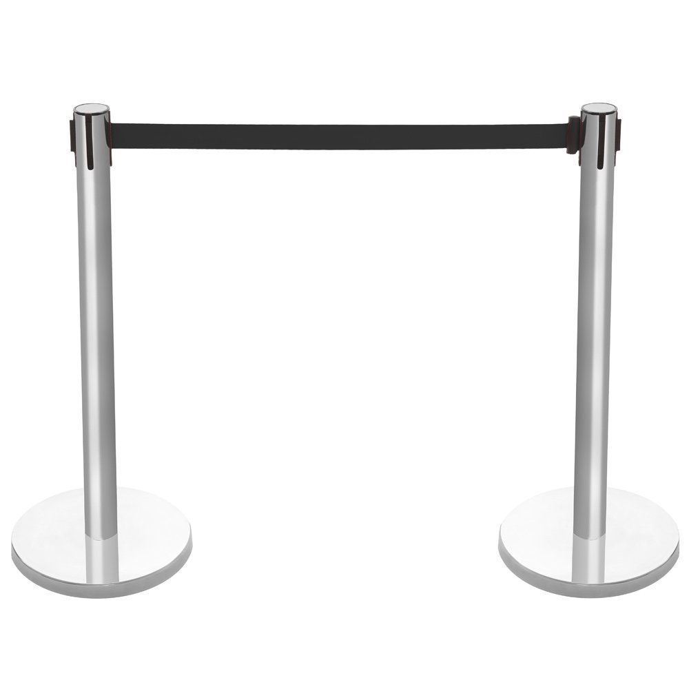 Pair of Retractable Barrier Posts with Black Webbing Shopfitting Warehouse
