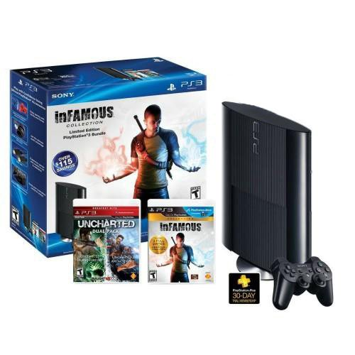 [PlayStation 3 Bundle w/ 250GB Console Extra Controller Uncharted] (Ups Package Costume)
