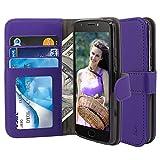 Moto E4 Plus Case, TAURI [Stand Feature] Wallet Leather Case with Card Pockets Protective Flip Cover For Motorola Moto E4 Plus / Moto E 4th Generation Plus (Not For Moto E4) - Purple