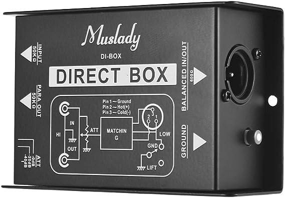 Muslady Caja de Audio Pasiva de Inyección Directa DI-Box Un Canal ...