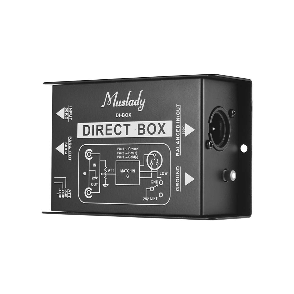 Muslady Professional Single Channel Passive DI-Box Direct Injection Audio Box Balanced & Unbalance Signal Converter with XLR TRS Interfaces for Electric Guitar Bass Live Performance