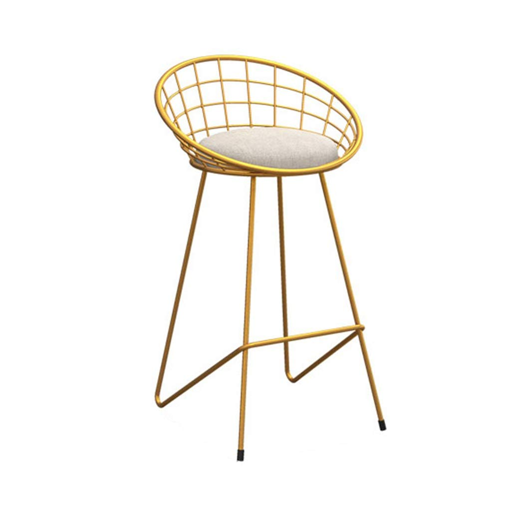 Barstools Chair Footrest High Stool Upholstered Dining Chairs as Stool for Kitchen | Pub | Breakfast Stool | Gold Metal Legs |Max Load 150kg (Size : 65cm)