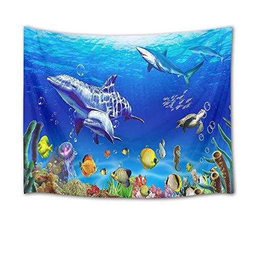 (HVEST Marine Life Wall Tapestry Dolphin Shark Turtle and Fish Under Blue Sea Wall Hanging Ocean Tapestries for Kids Bedroom Living Room Dorm Wall Decor Birthday Party Background,80Wx60H inches)