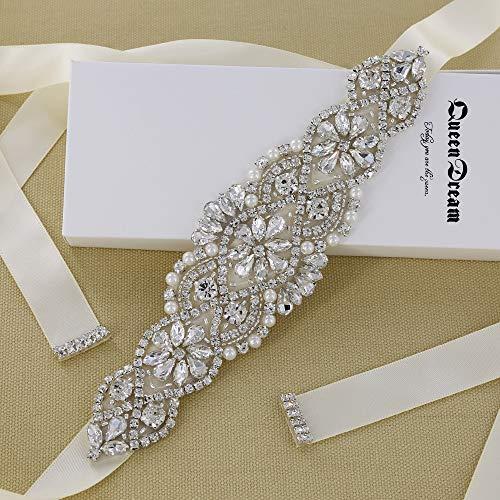 Handmade Clear Crystal Rhinestones Wedding Bridal Belt Ivory Wedding Sash Bridal Belts for Wedding Gowns